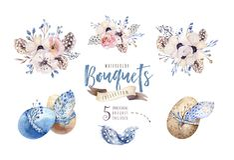 De bloemenillustratie van waterverfboho Boheemse bloemboeketten, kronen, regelingen voor huwelijk, verjaardag, verjaardag vector illustratie