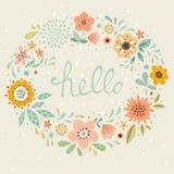 De Bloemenkaart van Hello Royalty-vrije Stock Afbeelding