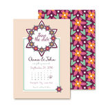 De bloemenkaart van huwelijksuitnodigingen in vector Stock Foto