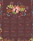 De bloemenkalender van 2015 Royalty-vrije Stock Afbeelding