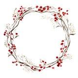 De bloemenkroon van waterverfkerstmis royalty-vrije illustratie