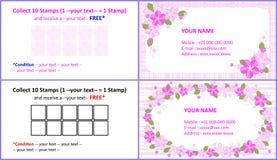 De bloemennaamkaart en verzamelt zegels royalty-vrije illustratie