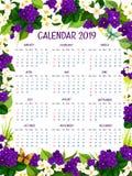 De bloemenontwerp van de kalender 2019 vector bloemenkrokus Stock Afbeelding