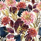 De bloemenregeling van de de herfstwaterverf, naadloos patroon vector illustratie