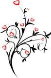 De bloementatoegering van harten Stock Afbeeldingen