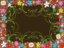 De bloemframe en wervelingen van de lente Stock Afbeeldingen