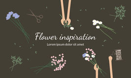 De bloemisten creëren bloemboeketten Stock Foto