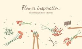 De bloemisten creëren bloemboeketten Hoogste mening Royalty-vrije Stock Afbeelding