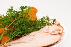 De bloemkool van Rosted met chiken vlees Stock Foto