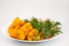 De bloemkool van Rosted met chiken vlees en dille Stock Afbeelding