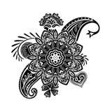 De bloemmalplaatje van de hennatatoegering Mehndistijl Reeks sierpatronen in de oosterse stijl Royalty-vrije Stock Afbeeldingen