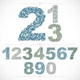 De bloemrijke aantallen van de ecologiestijl, blauwe vector gemaakte getalvoorstelling het gebruiken Stock Fotografie