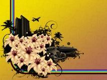 De bloemstad van Grunge Stock Foto