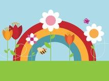 De bloemtuin van de regenboog Stock Fotografie