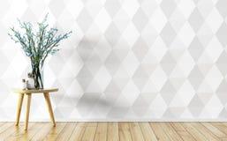 De bloemvaas over wit die 3d muur binnenlandse achtergrond met panelen bekleden trekt uit royalty-vrije illustratie