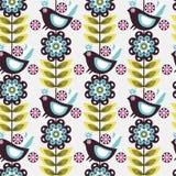 De bloemvogel van het patroon Royalty-vrije Stock Foto's