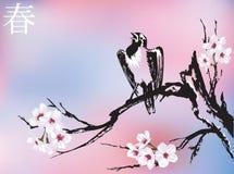 De bloesem van de lente & het zingen vogel Stock Afbeeldingen