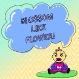 De Bloesem van de handschrifttekst zoals Bloem Concept het betekenen plant of boom die de zaden of fruitbabyzitting zal vormen royalty-vrije illustratie