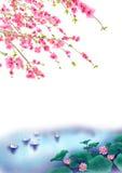 De bloesemAchtergrond van de perzik of van de Kers in de lentetijd Stock Afbeelding