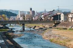De bloesems van de volledige bloeikers in Takayama-stad, Japan stock fotografie