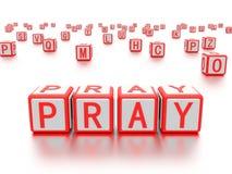 De blokken met het woord bidden geschreven op het vector illustratie