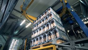 De blokken van bierflessen worden in polyethyleen in snelle motie worden verpakt die stock videobeelden