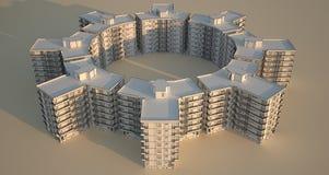 De blokken van de flat in cirkel. vector illustratie
