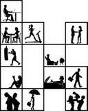 De blokken van de mensenbinnenkant op verschillende activiteiten royalty-vrije illustratie
