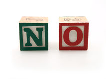 De blokken van het stuk speelgoed met woord - nr Royalty-vrije Stock Foto