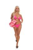 De Blonde Bikini van het strand stock afbeeldingen