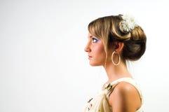 De blonde in romantische stijl Stock Fotografie