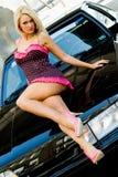 De Blonde van de sportwagen royalty-vrije stock foto