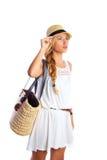 De blonde van het de zomerstrand van het toeristenmeisje witte kleding Royalty-vrije Stock Fotografie