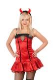 De blonde van Nice draagt een duivelskostuum Stock Afbeelding
