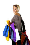 De blonde van Shoping Stock Afbeelding