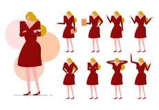 De blonde vrouw met rode kleding op velen stelt Stock Fotografie