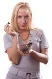 De blonde vrouw smaakt chocolade. #1 Stock Afbeeldingen