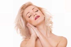De blondevrouw van de sensualiteit Stock Foto's