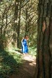 De blootvoetse vrouw kleedde zich in blauw alleen lopend door bos Stock Afbeeldingen