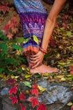 De blootvoetse vrouwenbenen en dient yogarek in stellen in kleurrijk royalty-vrije stock afbeeldingen