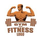 De bodybuilder die van het het embleemmodel van de geschiktheidsgymnastiek die bicepsen tonen op witte achtergrond worden geïsole Stock Foto