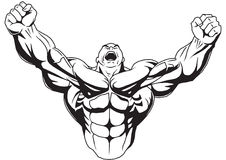 De bodybuilder heft spierwapens op stock illustratie