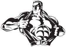 De bodybuilder scheurt overhemd op de borst vector illustratie