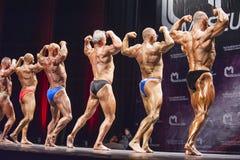 De bodybuilders tonen hun beste achter dubbele bicepsen stellen Royalty-vrije Stock Afbeeldingen