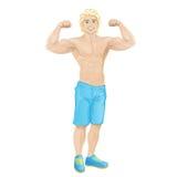 De bodybuilderspier van de sportmens, knappe beeldverhaalkerel Stock Foto's