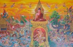 De boeddhistische godsdienst van de muurschilderingmythologie op muur in Wat Neram royalty-vrije stock foto