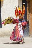 De boeddhistische lama's kleedden zich op tijd in mystieke masker het dansen Tsam geheimzinnigheid dans van het Boeddhistische fe Royalty-vrije Stock Afbeeldingen