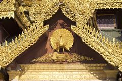 De boeddhistische tempel complexe Shwedagon is een historisch symbool van Boeddhisme, Myanmar stock afbeelding