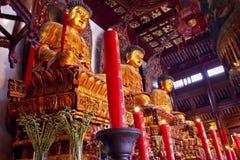 De boeddhistische Tempel Shanghai van Boedha van de Jade van Standbeelden Royalty-vrije Stock Foto's