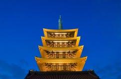 De Boeddhistische tempel van Sensoji bij nacht Stock Foto